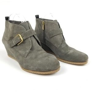 Franco Sarto Women Amerosa Gray Suede Wedge Bootie
